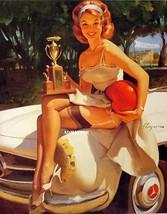 Elvgren 2-Sided Pin-up Girls 8 1/2 X 11 Print  Racing Champion! 1965 Fast Lass - $12.59