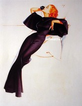 """George Petty Pin-up Girl 9"""" X 12"""" Poster Red Head in Black talking on Phone - $9.89"""