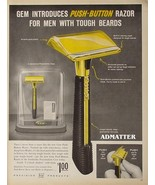 1958 Gem 24K Gold Plated Push-button Razor Ad - $6.89