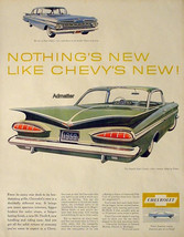 1958 CHEVY IMPALA SPORT COUPE & BEL AIR CAR PRINT AD FOR NEW 1959 CHEVROLET - $12.86