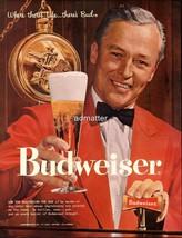 1958 Budweiser Beer Ad Anheuser Busch Bartender - $11.87