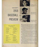 1958 Baseball Preview Mickey Mantle Willie Mays Hodges - $7.84
