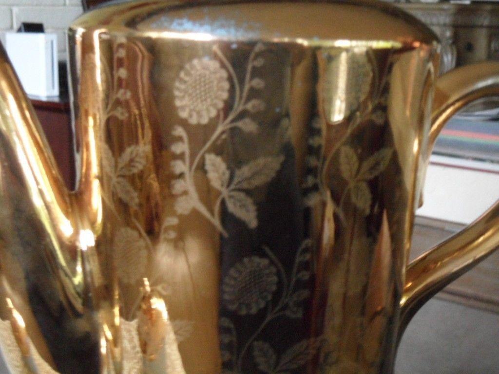 RARE ! VTG HOMER LAUGHLIN GOLD TEA COFFEE POT CHINA WARRENTED 22 KT GOLD image 3