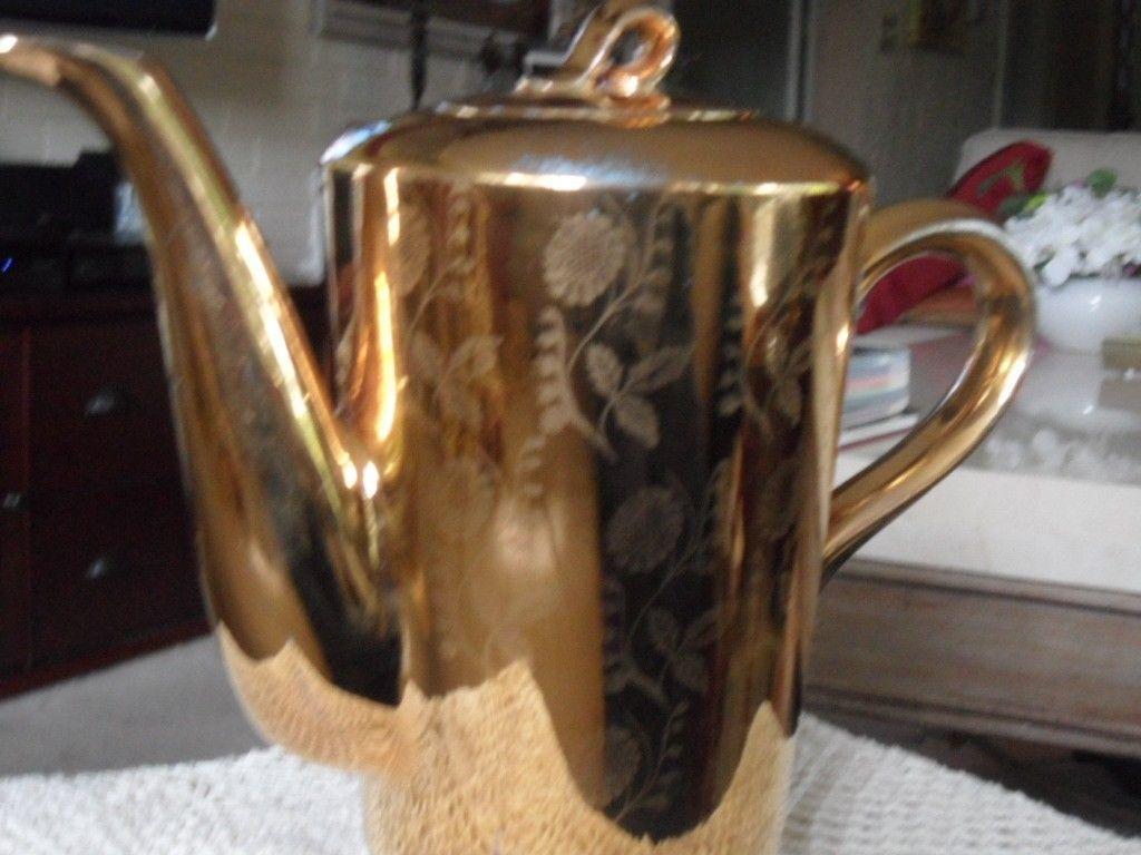 RARE ! VTG HOMER LAUGHLIN GOLD TEA COFFEE POT CHINA WARRENTED 22 KT GOLD image 2