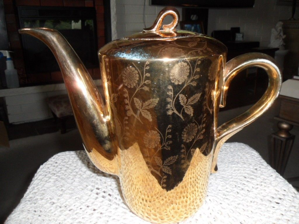 RARE ! VTG HOMER LAUGHLIN GOLD TEA COFFEE POT CHINA WARRENTED 22 KT GOLD