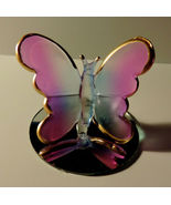 Light Purple Frosted Glass Butterfly on Mirror Decorative Figurine - $4.00