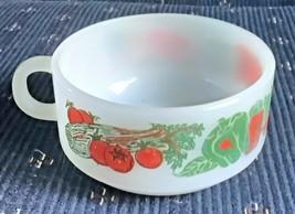 Glasbake White Milk Glass Handled Soup Mug with Vegetable Print J-2711 - $6.99