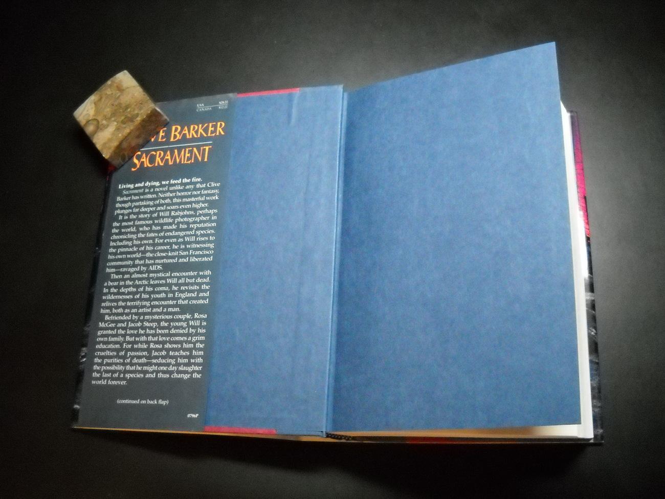 Clive Barker Sacrament 1996 Harper Collins First Edition Hardcover Dust Jacket