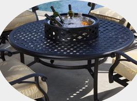 """Patio table Cast Aluminum furniture 52"""" Ice Tea / Fire Pit  Nassau  Bronze  image 3"""