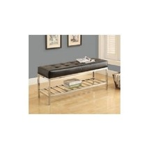 Modern Black Faux Leather Metal Bench Accent Chrome Seat Bedroom Entry S... - €170,52 EUR