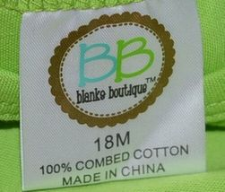 Blanks Boutique Lime Green Girls  Long Sleeve Cotton Ruffle Shirt Size 18M image 5
