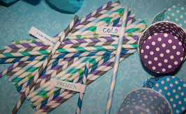 Paper Straws 12 For Your Disney Frozen Or Cinderella Party Free Straw Fl... - $2.95