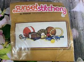 "Vintage Sunset Stitchery All American Sports Crewel Needlework Kit 10x20"" - $10.39"