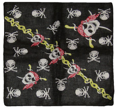 "22""x22"" Pirate Red Hat Pirate Crossbones W/ Chain 100% Cotton Bandana - $6.88"
