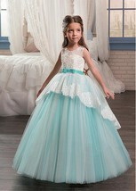 Custom Made Attractive Satin Jewel Neckline Ball Gown Flower Girl Dresses   - $142.00