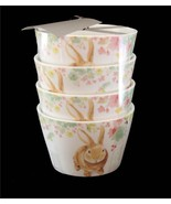 """4 222 Fifth Colorful Spring Floral SYDNEY BUNNY 4-1/2"""" Appetizer Bowls NWT - $28.99"""