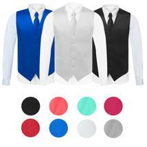 Men's Solid Color Adjustable Dress Vest & Neck Tie Set for Suit or Tuxedo