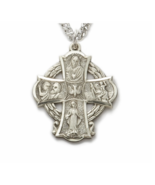 STERLING SILVER ENGRAVED FOUR WAY MEDAL CROSS NECKLACE - $151.99