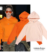 Celebrity Style GIGI Inspired Cotton Fleecy Semi Cropped Hoodie in Orang... - $53.01