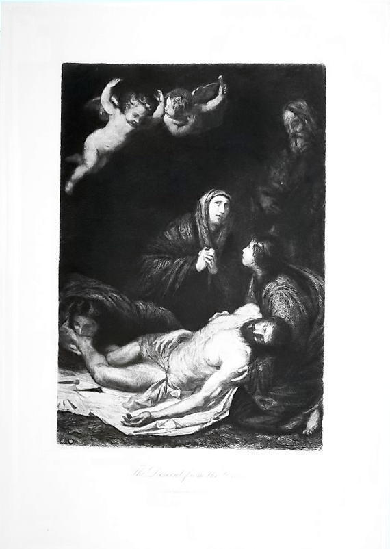 CHRIST Descent from Cross by Ribera - 1888 Etching Print
