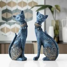 2pcs Blue Vintage Cat Sculpture Figurine Statue Home Decor - $45.05