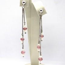 Drop Earrings White Gold 18K, Chain, Pearl White, Tourmaline, Waterfall image 1