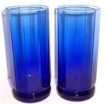 Vintage (2) Large Anchor Hocking Pressed Designed Cobalt Blue Color Glas... - $25.99