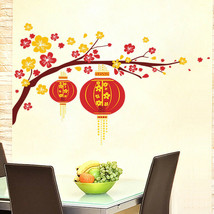 ZOOYOO® Festive Chinese New Year Red Lantern Peach Flowers Pvc Wall Art ... - $3.84
