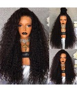 "24"" Long Black Heavy Density Loose Curly Natural Women Hair Wig Lace Fro... - €55,76 EUR"