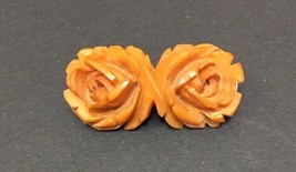 DBL. CARVED ROSES - BUTTERSCOTCH- BAKELITE PIN - $64.35