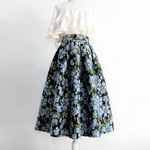 Pink Rose Flower Midi Skirt Plus Size Elegant A-line Pleated Midi Party Skirt image 8