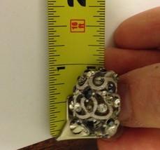 VTG Silvertone Filigree *Smoke/Black/Clear Rhinestones Cluster Pierced Earrings image 7