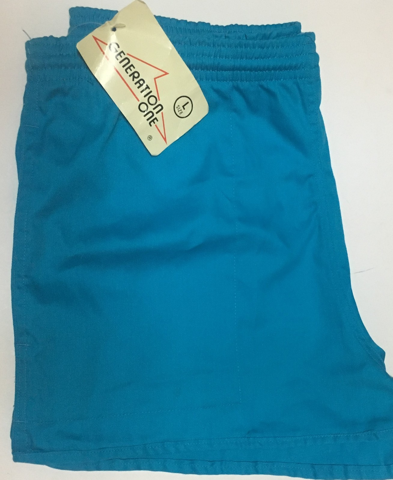 Generation One Women's Active Shorts Drawstring NWT Sz L Turquoise