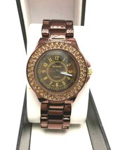 AccuTIME Women's Scoop Quartz Stainless Steel Bracelet Watch with Crystals NEW - $35.00