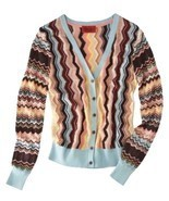Missoni Chevron Shimmery Gold Colore Knit Cardigan Sweater - Women's Sma... - $1.640,18 MXN