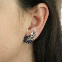 SOLID 18K WHITE GOLD FLOWER, LEAVES SCREW BACK EARRINGS WITH DIAMONDS SAPPHIRES image 7