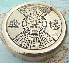 Brass Perpetual Calendar Paperweight 50 years upto 2046 - $14.99