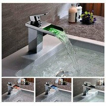 Cascada Color Changing LED Waterfall Bathroom Sink Faucet (Chrome Finish... - $194.01