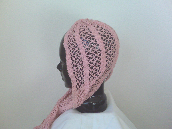 Gypsy Style Knitted Pink Hat Scarf With Tails