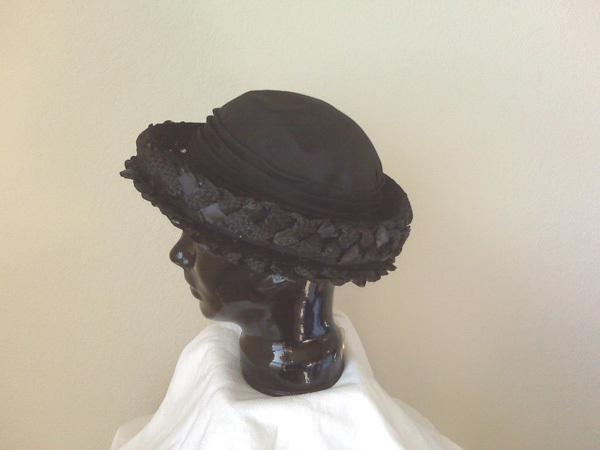 Straw weave hat (black), light weight