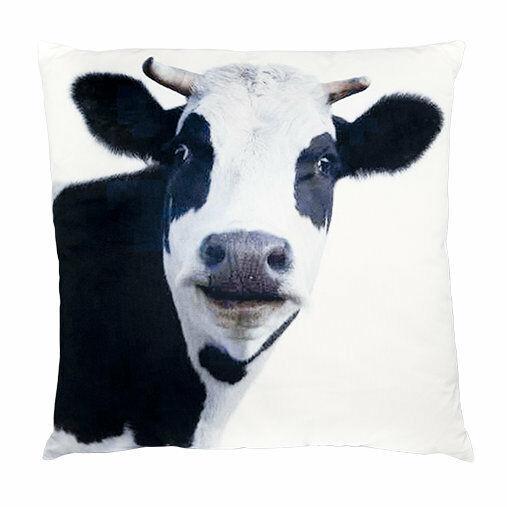 "Cow Cushion Throw Pillow Ashdene Black White Velvet Large Farm Animal 17"" Square"