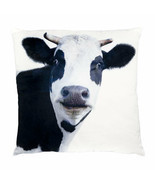 Cow Cushion Throw Pillow Ashdene Black White Velvet Large Farm Animal 17... - $34.64