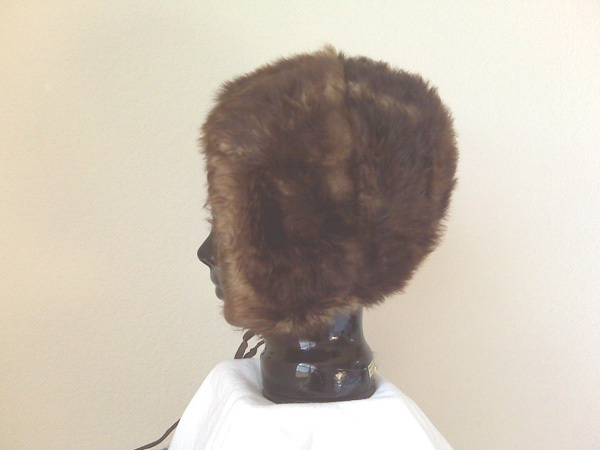 Fur (simulated) Hat with Pom Poms