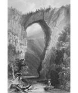 1853 PRINT: Virginia Natural Bridge & AD: Cincinnati Etna Stove Foundry,... - $19.80