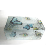 Blue Butterfly Peacock Feather Glass Jewelry Trinket Treasure Box New - €22,87 EUR