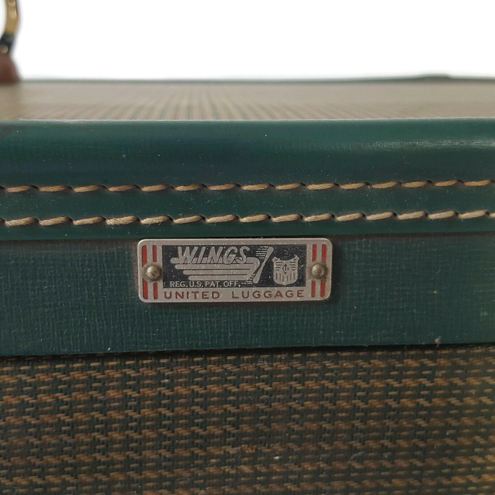 Vintage Hardside Suitcase 1940s Green Tweed Luggage Burlesque Case Valise