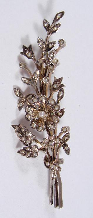 ANTIQUE SILVER & PEARL BOUQUET PIN