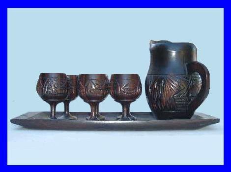 Miniature teakwood tea set 1