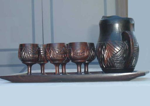 Handmade Miniature Teakwood Goblets Pitcher Tray Set