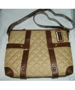 MAGGI B Quilted Cross Body Handbag Purse Beige Trimmed w/Dark Brown NWT ... - $44.97